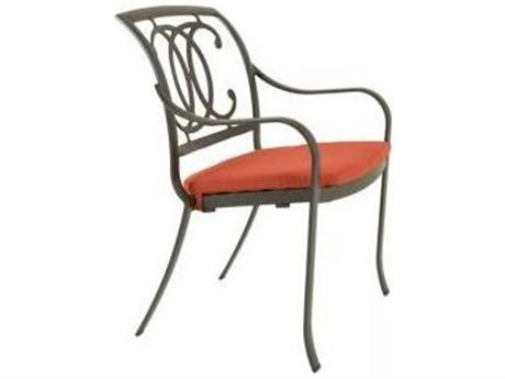 Tropitone Palladian Double C Back Aluminum Dining Chair with Seat Pad
