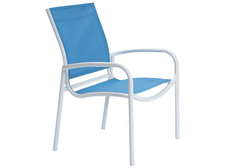 Tropitone Millennia Relaxed Sling Aluminum Stackable Dining Chair PatioLiving