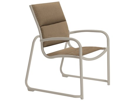 Tropitone Milennia Padded Sling Aluminum Sled Base Dining Arm Chair