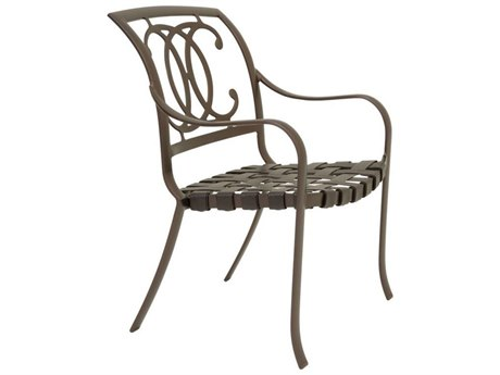 Tropitone Palladian Double C Back Cast Aluminum Strap Dining Arm Chair