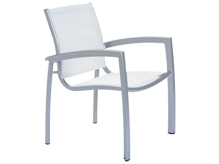 Tropitone South Beach Relaxed Sling Aluminum Dining Arm Chair PatioLiving