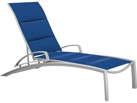 Tropitone South Beach Padded Sling Aluminum Chaise Lounge with Arms