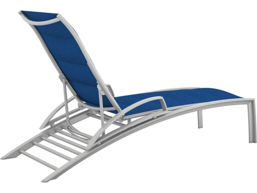 Tropitone south beach padded sling aluminum chaise lounge for Chaise lounge beach
