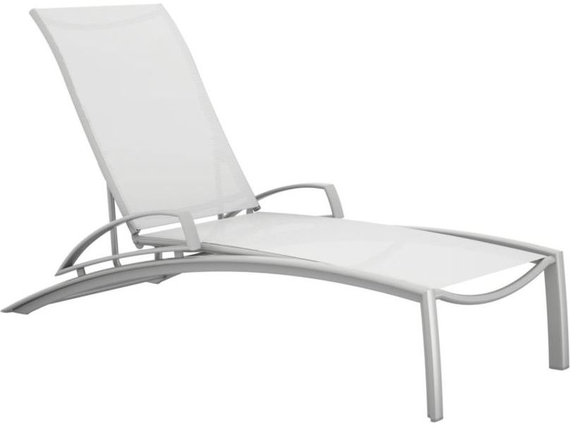 Tropitone south beach relaxed sling aluminum chaise lounge for Aluminum strap chaise lounge