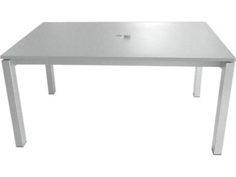 Tropitone Valora Cast Aluminum 63''W x 39''D Rectangular KD Dining Table with Umbrella Hole