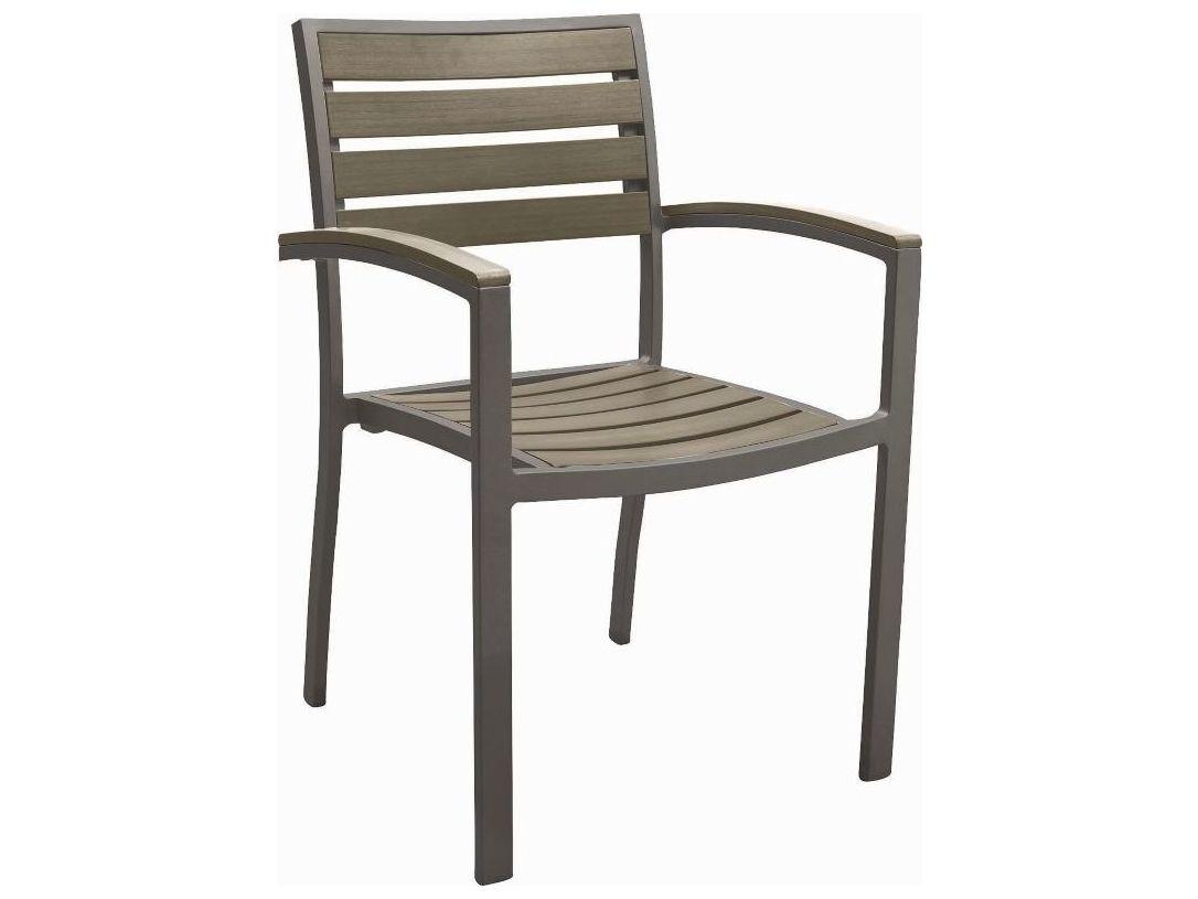 Tropitone Valora Aluminum Jado Faux Wood Slat Dining Chair