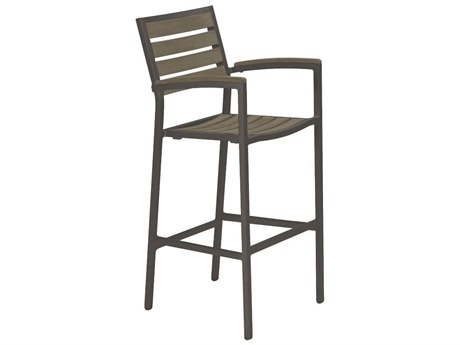 Tropitone Valora  Aluminum Jado Faux Wood Slat Arm Bar Stool