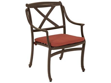 Tropitone Belmar X-back Cast Aluminum Dining Chair with Seat Pad