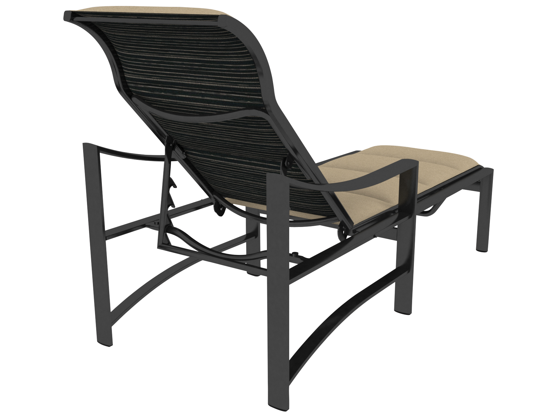 Tropitone kenzo padded sling aluminum chaise lounge for Aluminum strap chaise lounge