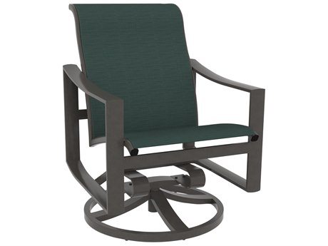 Tropitone Kenzo Sling Aluminum Swivel Rocker Dining Arm Chair