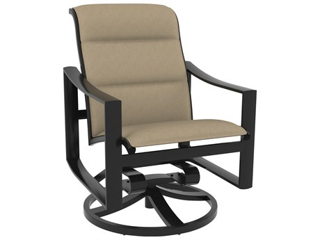 Tropitone Kenzo Padded Sling Aluminum Swivel Rocker Dining Arm Chair
