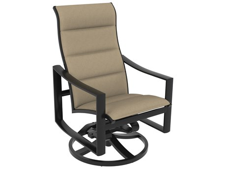 Tropitone Kenzo Padded Sling Aluminum High Back Swivel Rocker Dining Arm Chair