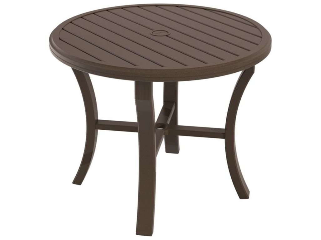 Tropitone banchetto aluminum 36 round dining table with - Aluminium picnic table with umbrella ...