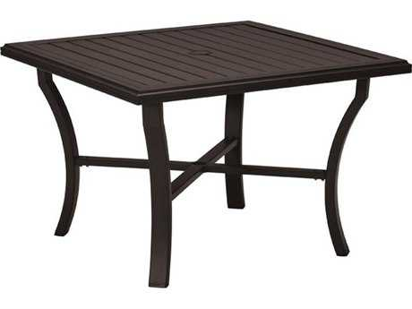 Tropitone Banchetto Aluminum 42 Square Dining Table with Umbrella Hole