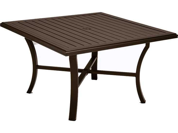 Tropitone banchetto aluminum 48 square dining table with - Aluminium picnic table with umbrella ...