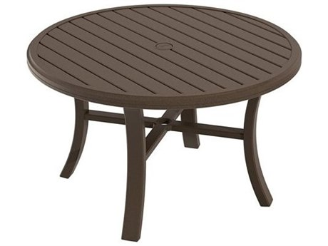 Tropitone Banchetto Slat Aluminum 42''Wide Round Chat Table with Umbrella Hole