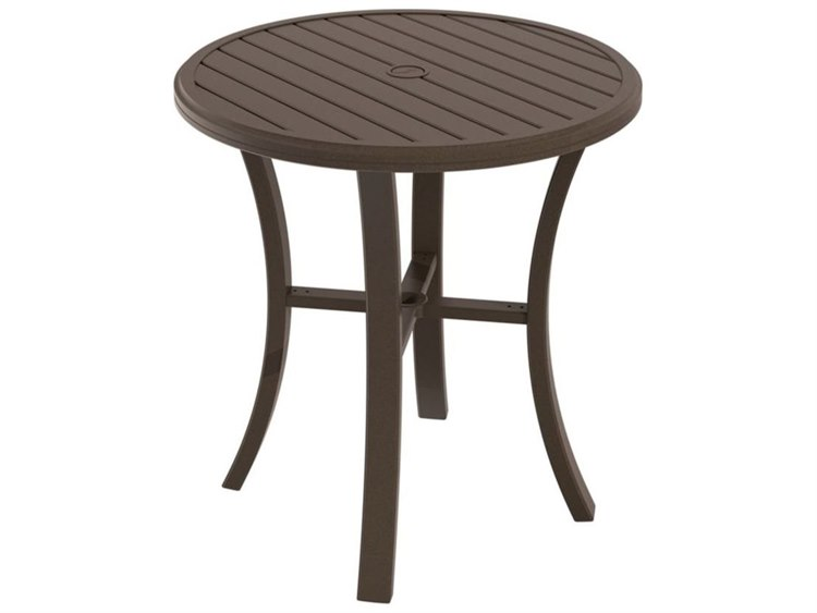 Tropitone Banchetto Slat Aluminum 36''Wide Round KD Bar Table with Umbrella Hole PatioLiving