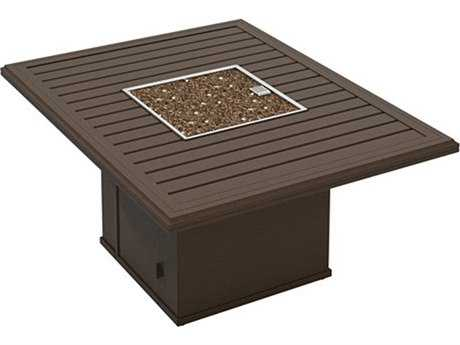Tropitone Bachetto Aluminum 54 x 42 Rectangular Fire Pit Table
