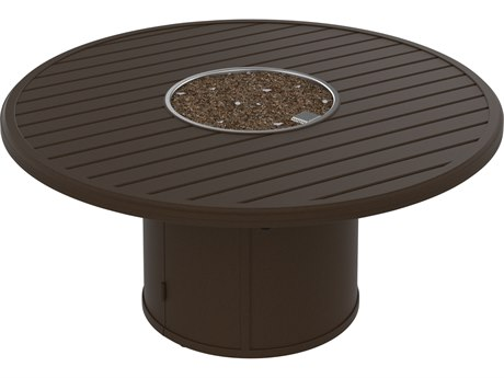 Tropitone Banchetto Aluminum 54''Wide Round Fire Pit Table