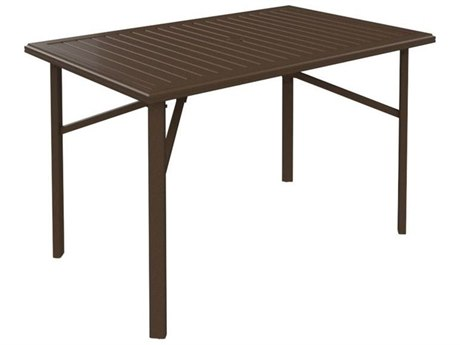 Tropitone Banchetto Aluminum 66 x 42 Rectangular Bar Table with Umbrella Hole