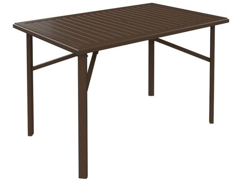 Tropitone banchetto aluminum 66 x 42 rectangular bar table - Aluminium picnic table with umbrella ...