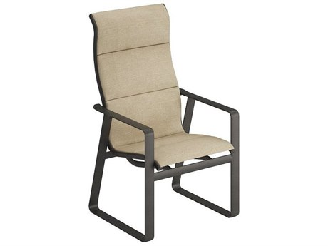 Tropitone Samba Padded Sling Aluminum High Back Dining Arm Chair