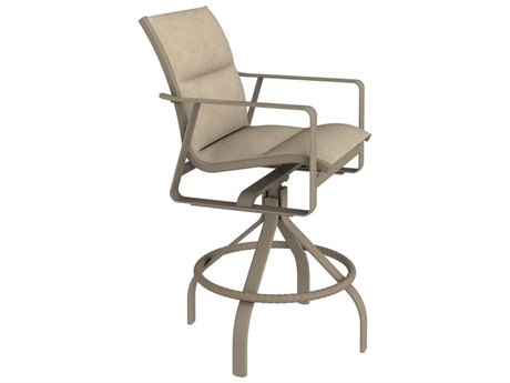 Tropitone Samba Padded Sling Aluminum Swivel Bar Stool 28'' PatioLiving