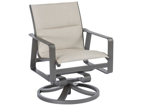 Tropitone Samba Padded Sling Aluminum Swivel Rocker Dining Arm Chair