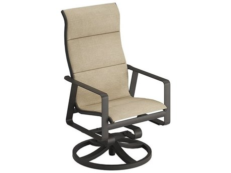 Tropitone Samba Padded Sling Aluminum High Back Swivel Rocker Lounge Chair
