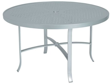 Tropitone Boulevard Aluminum 48 Round Dining Table with Umbrella Hole TP4248SBU
