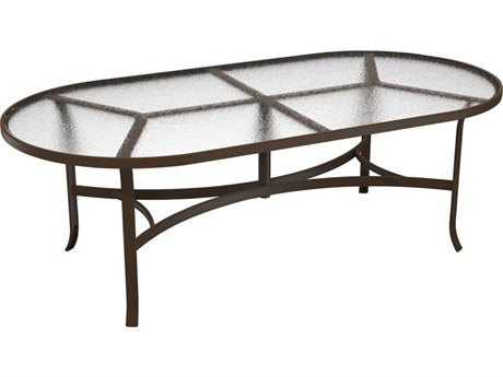Tropitone Acrylic Cast Aluminum 84''W x 42''D Oval Dining Table PatioLiving