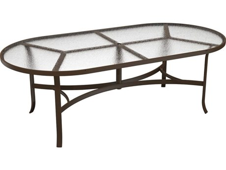 Tropitone Acrylic Cast Aluminum 84''W x 42''D Oval Dining Table with Umbrella Hole PatioLiving