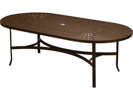 Tropitone La Stratta Aluminum 84 x 42 Oval Dining Table with Umbrella Hole