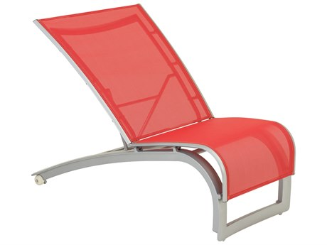 Tropitone Flair Sling Aluminum Recliner Lounge Chair with Wheels