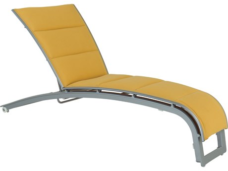 Tropitone Flair Padded Sling Aluminum Chaise Lounge with Wheels
