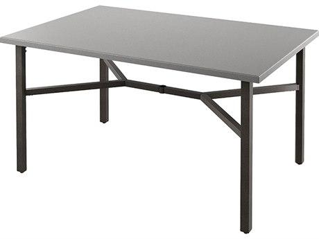Tropitone Matrix Aluminum 70''W x 46''D Rectangular KD Bar Table with Umbrella Hole