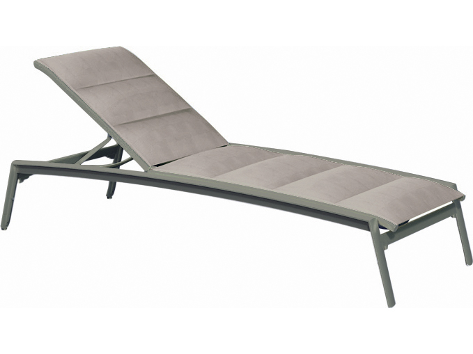 Tropitone elance padded sling aluminum chaise lounge with for Aluminum chaise lounge with wheels