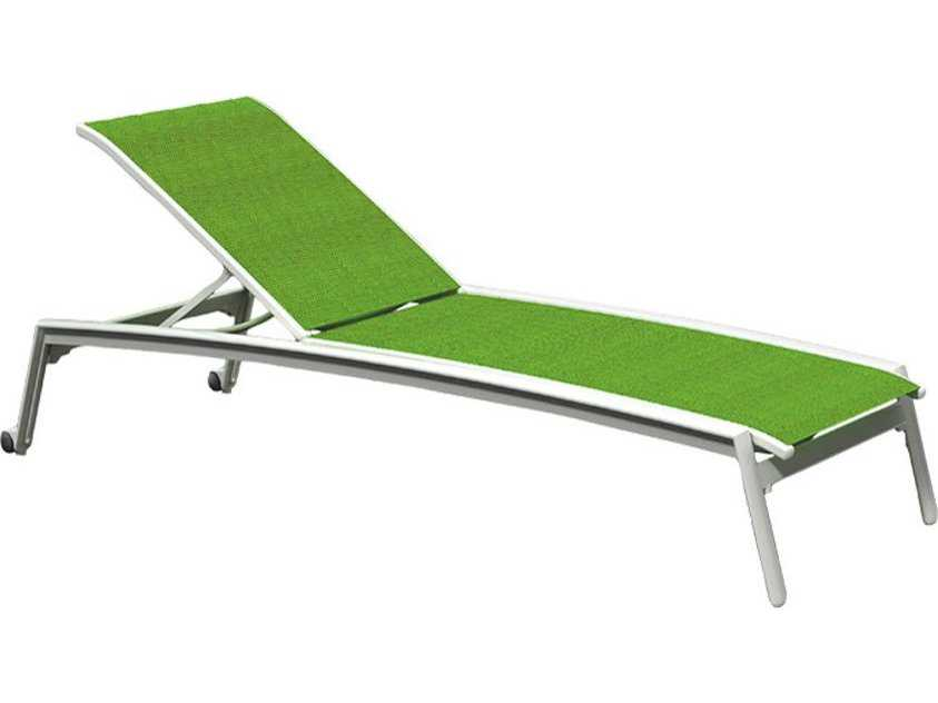 Tropitone elance relaxed sling aluminum chaise lounge with for Aluminum chaise lounge with wheels