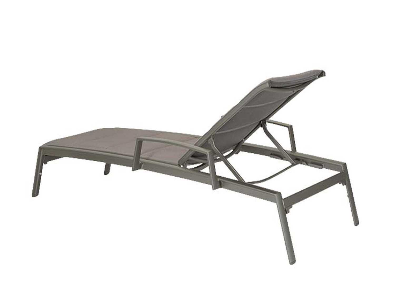 Tropitone elance padded sling aluminum chaise lounge with for Aluminum chaise lounge