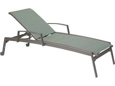 Tropitone Elance Relaxed Sling Aluminum Chaise Lounge with Arms & Wheels