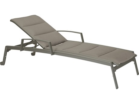 Tropitone Elance Padded Sling Aluminum Chaise Lounge with Arms & Wheels