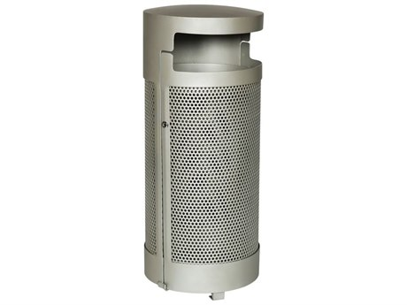 Tropitone District Round Steel Waste Receptacle with Door and Bonnet Hood