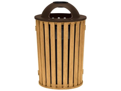 Tropitone District Round Faux Wood Waste Receptacle with Dome Hood and Ash Urn
