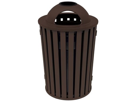 Tropitone District Aluminum Round Waste Receptacle with Dome Hood and Ash Urn, Slat