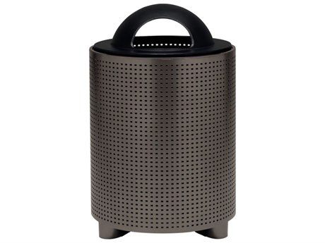 Tropitone District Round Steel Waste Receptacle with Dome Hood