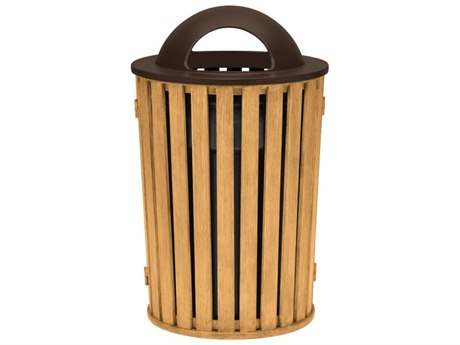 Tropitone District Aluminum Round Waste Receptacle with Dome Hood and Ash Urn, Faux Wood Slat