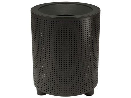 Tropitone District Aluminum Round Waste Receptacle with Dome Hood and Ash Urn, Square Pattern