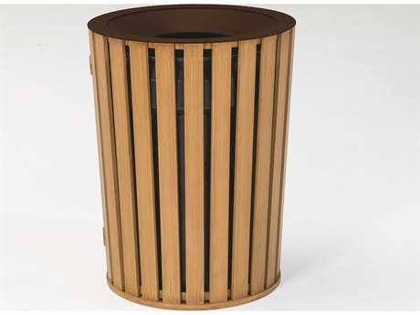 Tropitone District Round Faux Wood Waste Receptacle