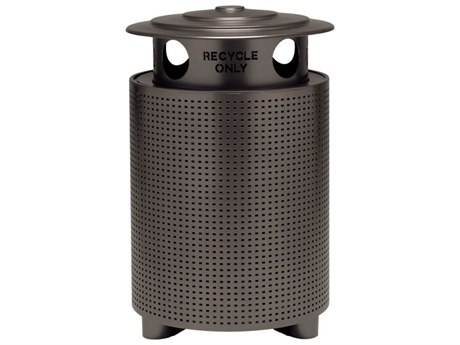 Tropitone District Aluminum Round Waste Receptacle with Recycling Hood, Square Pattern