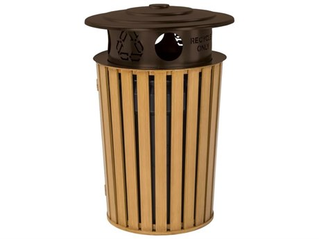 Tropitone District Round Faux Wood Waste Receptacle with Recycling Hood